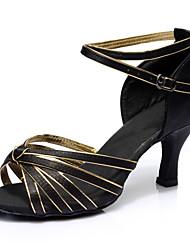 Недорогие -Жен. Танцевальная обувь Сатин Обувь для латины На каблуках Тонкий высокий каблук Персонализируемая Черный и золотой / Выступление
