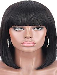 Недорогие -человеческие волосы Remy Лента спереди Парик Аккуратная челка стиль Бразильские волосы Прямой Черный Парик 130% Плотность волос Черный Жен. Короткие Парики из натуральных волос на кружевной основе