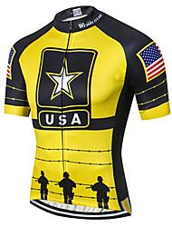 Недорогие -21Grams Американский / США Флаги Муж. С короткими рукавами Велокофты - Черный / желтый Велоспорт Джерси Верхняя часть Дышащий Влагоотводящие Быстровысыхающий Виды спорта Полиэстер Эластан Терилен