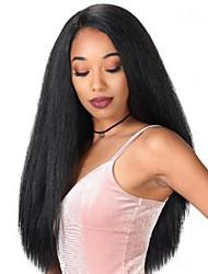 povoljno -Sintetičke perike Afro Kinky Stil Srednji dio Capless Perika Crna Crna Sintentička kosa 22 inch Žene Sexy Lady Crna Perika Dug Prirodna perika