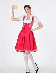 billige -Halloween Karneval Oktoberfest dirndl Dame bayerske Rød Blå Lys pink Kjole Forklæde