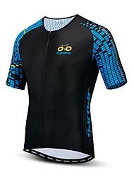 hesapli -JPOJPO Erkek Kısa Kollu Bisiklet Forması Siyah Ekoseli / Damalı Bisiklet Forma Üstler Nefes Alabilir Nem Emici Hızlı Kuruma Spor Dalları Polyester Elastane Terylene Dağ Bisikletçiliği Yol / Likra