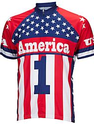 Недорогие -21Grams Американский / США Флаги Муж. С короткими рукавами Велокофты - Красный + синий Велоспорт Верхняя часть Устойчивость к УФ Дышащий Влагоотводящие Виды спорта Терилен / Слабоэластичная