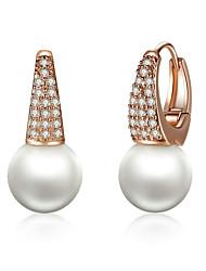 billige -øreringe i rosa guldfarve til kvinder med simulerede perler& krystaløreringe til kvinder i dinglende øreringe