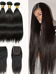 abordables -3 paquets avec fermeture Cheveux Brésiliens Droit Cheveux Naturel humain Paquets de 100% Remy Hair Weave Tissages de cheveux humains Bundle cheveux One Pack Solution 8-20 pouce Couleur naturelle