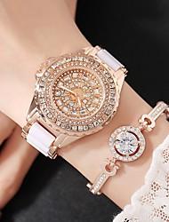 Недорогие -Жен. Модные часы Имитационная Четырехугольник Часы Часы со стразами Кварцевый Белый Аналоговый Кулоны Роскошь На каждый день - Золотой