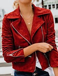 Недорогие -Жен. Повседневные Весна Обычная Куртка, Однотонный Приподнятый круглый Длинный рукав Полиэстер Красный / Серый / Хаки