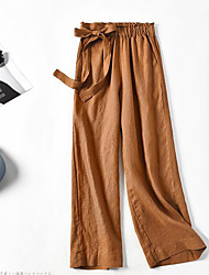 Недорогие -Жен. Свободный силуэт Широкие Брюки - Однотонный Шнуровка Лён Темно синий Серый Хаки L XL XXL