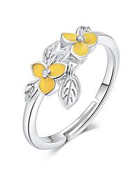 Недорогие -регулируемые кольца перста и цветка для женщин, эмаль из стерлингового серебра 925 пробы с цветочным дизайном