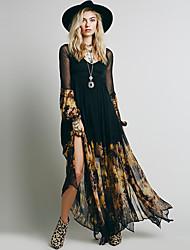 Недорогие -Жен. Богемный Элегантный стиль С летящей юбкой Платье - Цветочный принт, С разрезами Пэчворк Макси