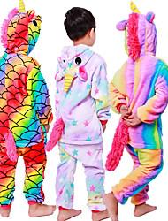 Недорогие -Детские Пижамы кигуруми Unicorn Пегас Пони Цельные пижамы Фланель Черный / Белый + розовый / Белый Косплей Для Мальчики и девочки Нижнее и ночное белье животных Мультфильм Фестиваль / праздник костюмы