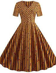 Недорогие -Жен. Уличный стиль С летящей юбкой Платье - Гусиная лапка, С принтом До колена