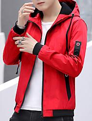 Недорогие -Муж. Повседневные Наступила зима Обычная Куртка, Контрастных цветов Капюшон Длинный рукав Полиэстер Черный / Красный