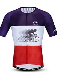hesapli -JPOJPO Yenilik Erkek Kısa Kollu Bisiklet Forması - Menekşe Bisiklet Forma Üstler Nefes Alabilir Nem Emici Hızlı Kuruma Spor Dalları Polyester Elastane Terylene Dağ Bisikletçiliği Yol Bisikletçiliği