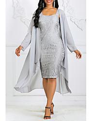 Недорогие -Жен. Элегантный стиль Из двух частей Платье - Однотонный Сердцевидный вырез До колена