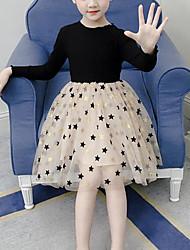 Недорогие -Дети Девочки Симпатичные Стиль Уличный стиль Пэчворк Сетка Пэчворк Длинный рукав Платье Черный