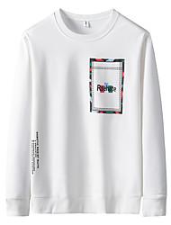 ราคาถูก -สำหรับผู้ชาย เสื้อเชิร์ต พื้นฐาน / Street Chic ลายพิมพ์ สีพื้น สีดำ