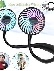 Недорогие -1 шт. Мини-USB персональный вентилятор - перезаряжаемый портативный дизайн наушников, носимый вентилятор с шейным ободом3 уровень воздушного потока7 светодиодные фонари360 градусов свободного вращения