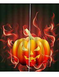 Недорогие -затемнение теплоизоляционные отверстия бесплатная установка шторы 3d цифровая печать хэллоуин их горения тыква лампа стены фон занавес