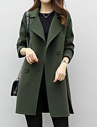 Недорогие -Жен. Повседневные Классический Длинная Пальто, Однотонный Отложной Длинный рукав Полиэстер Черный / Зеленый / Хаки