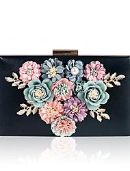 Недорогие -Жен. Жемчужная отделка / Цветы PU / Сплав Вечерняя сумочка Цветочный принт Черный / Белый / Розовый
