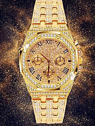 Недорогие -Муж. Нарядные часы Японский Кварцевый вымостить Нержавеющая сталь Серебристый металл / Золотистый 30 m Секундомер Повседневные часы Имитация Алмазный Аналоговый Роскошь горный хрусталь Мода -