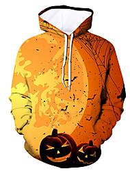 Недорогие -Муж. Активный / Хэллоуин Толстовка - Контрастных цветов / Черепа