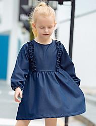 povoljno -Dijete koje je tek prohodalo Djevojčice Aktivan Jednobojni Dugih rukava Iznad koljena Haljina Navy Plava