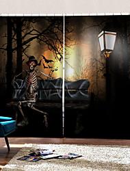 Недорогие -Завод прямые цены 3d цифровая печать шторы готовые хэллоуин силуэт фон занавес затемнения пыли 100% полиэстер занавес