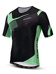hesapli -JPOJPO Erkek Kısa Kollu Bisiklet Forması Yeşil / Siyah Bisiklet Forma Üstler Nefes Alabilir Hızlı Kuruma Spor Dalları Polyester Elastane Terylene Dağ Bisikletçiliği Yol Bisikletçiliği Giyim / Likra