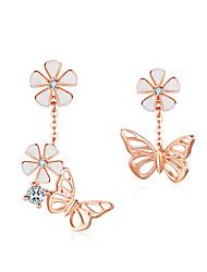 Недорогие -серьги бабочка и цветок эмали s925 цветочные асимметрия серьги с подвесками стерлингового серебра 925 пробы украшения для помолвки