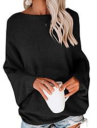 Недорогие -Жен. Однотонный Длинный рукав Пуловер, На одно плечо Осень Черный / Темно-серый / Бежевый S / M / L