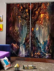 Недорогие -Оптовая дерево и эльф 3d цифровая печать тема hallowmas занавес окна роскошные партии шторы спальня гостиная декоративные затемнения 100% полиэстер ткань для штор