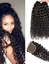 abordables -3 paquets avec fermeture Cheveux Brésiliens Kinky Curly Cheveux Naturel humain Cheveux humains Naturels Non Traités Casque Tissages de cheveux humains Extension 8-20 pouce Couleur naturelle Tissages