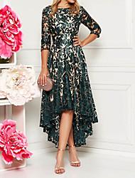 Недорогие -Жен. Элегантный стиль Кружева А-силуэт Платье - Цветочный принт, Пайетки Асимметричный шов Ассиметричное