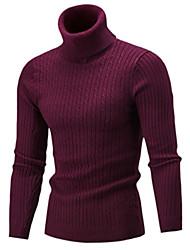 Недорогие -Муж. Однотонный Длинный рукав Тонкие Пуловер, Хомут Осень Черный / Винный / Светло-серый US32 / UK32 / EU40 / US34 / UK34 / EU42 / US36 / UK36 / EU44
