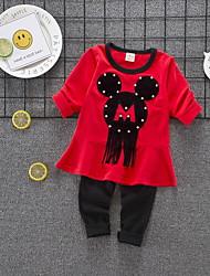 Недорогие -Дети (1-4 лет) Девочки Классический Мультипликация Пэчворк С короткими рукавами Обычный Обычная Хлопок Набор одежды Желтый