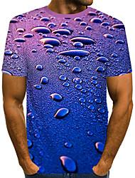 Недорогие -Муж. С принтом Футболка Уличный стиль / преувеличены Контрастных цветов / 3D Тёмно-синий