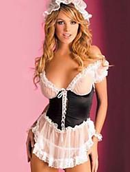 Недорогие -Форма горничной Жен. Сетка Сексуальные платья Костюм Ночное белье Контрастных цветов Белый Один размер