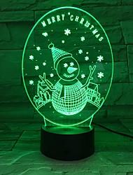 Недорогие -3d снеговик уникальные световые эффекты оптическая иллюзия светодиодная настольная лампа с рождественским украшением 7 цветов ночник подарок к празднику