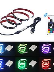 billige -5 m Fleksible LED-lysstriper / RGB-lysstriper / Fjernkontroller 150 LED SMD5050 17-nøkkel fjernkontroll Multifarget Vanntett / USB / Fest 5 V 1set
