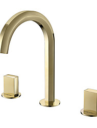 Недорогие -настенный смеситель для раковины, 3 предмета, набор из 2 ручек, для горячей и холодной воды, раковина для ванной комнаты, золотой кран с керамическим сердечником клапана