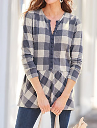 billige -Bluse Dame - Ruter Blå