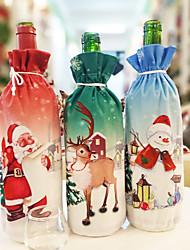 Недорогие -творческий рождественский бутылка красного вина рождественский обеденный сервиз санта клаус снеговик олень крышка от бутылки одежда рождественский подарок сумка