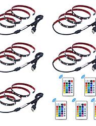 billige -1m Fleksible LED-lysstriper / RGB-lysstriper / Fjernkontroller 30 LED SMD5050 1 24Kjør fjernkontrollen Multifarget Vanntett / USB / Fest 5 V 5pcs