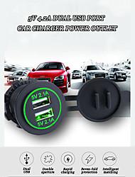Недорогие -5v 4.2a Dual USB порт автомобильное зарядное устройство розетка автомобильный адаптер разъем со светодиодным быстрым зарядным устройством водонепроницаемый / 7