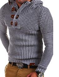 Недорогие -Муж. Однотонный Длинный рукав Пуловер, Капюшон Черный / Светло-серый / Белый US32 / UK32 / EU40 / US34 / UK34 / EU42 / US36 / UK36 / EU44