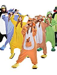 Недорогие -Взрослые Пижамы кигуруми Динозавр Животный принт Цельные пижамы Флис Каштановый / Черный / Белый / Оранжевый Косплей Для Муж. и жен. Нижнее и ночное белье животных Мультфильм Фестиваль / праздник