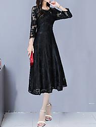 Недорогие -Жен. Элегантный стиль А-силуэт Платье - Геометрический принт, Кружева Макси