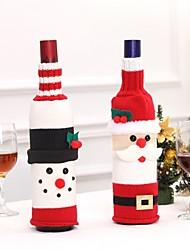 Недорогие -2 шт. / Компл. Рождественские украшения бутылка вина свитер санта-клаус сумка вязаные шапки на новый год рождественская вечеринка украшения